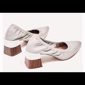 Zara Grey Leather Block Heel Pumps